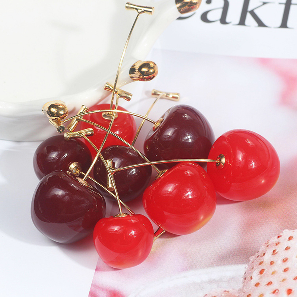 Cute Simulation Cherry Sweet Drop Earrings Resin Hot Sale Line Pendientes High Quality For Women Girl Student Fruit Earring Gift