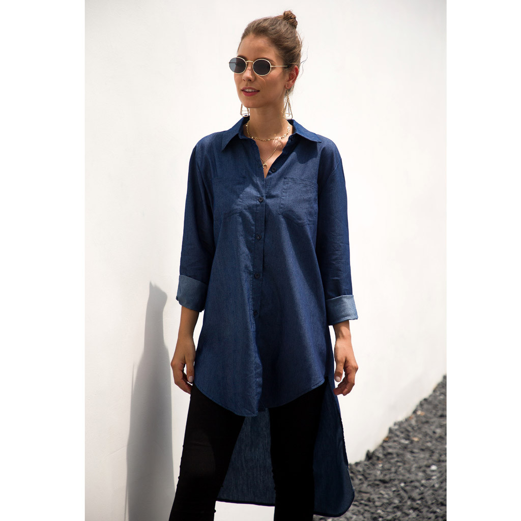 Feitong Dress Women Blue Jeans Denim Shirt Long Sleeve Casual Loose Shirt Mini Dress Sexy Dresses Robe Femme