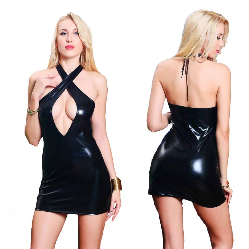 Sexy Patent Leather Keyhole Twist Mini Dress Women Wet Look Bodycon Halter Ultra Short Night Clubwear Mistress Costume image