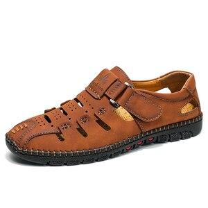Image 1 - Tamanho grande 38 48 moda masculina sandálias de praia verão respirável sapatos de caminhada casuais ao ar livre masculino zapatos de hombre