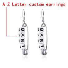 Letter Earrings Customized Trendy Accessories Punk Square