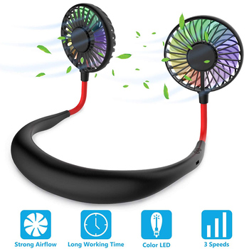 цена на Mini Portable Neck Fans USB Rechargeable Air Cooler Personal Air Cooling Fans 3 Speed Colorful Light Hands-Free Air Conditioner