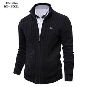 High Quality 100% Cotton Thick Mens Sweaters Embroidery Brand Casual High-Collar knitted Mens Zipper Sweaters Fashion Male Coats