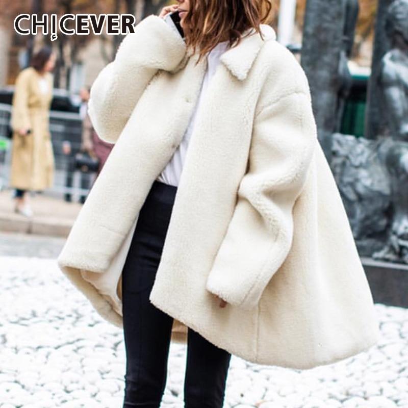 CHICEVER Casual Lambswool Loose Women's Coats Lapel Collar Long Sleeve Irregular Hem Jacket For Female 2020 Fashion New Clothing