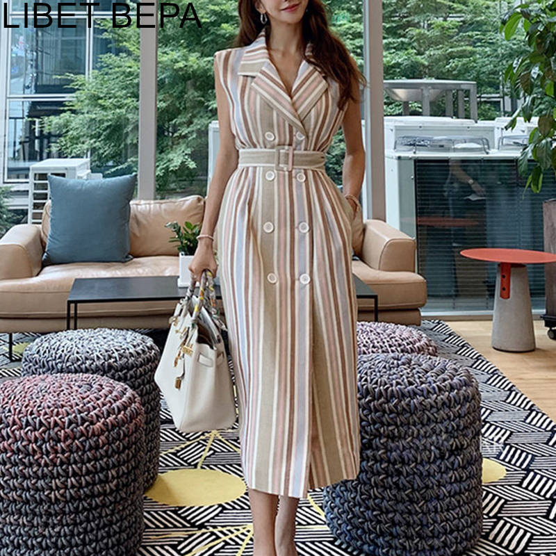2019 New Autumn Women Wrap Dress Striped Lace Up Bow Single-breasted Cotton And Linen Sleeveless Casual High Waist Dresses DR012