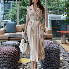 2019 New Autumn Women Wrap Dress Striped Lace Up Bow Single-breasted Cotton and