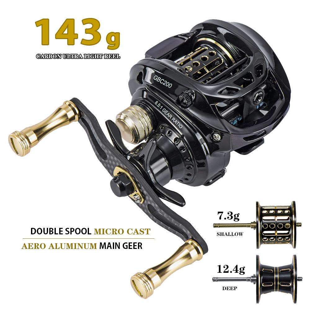 Hot Sale!GBC200 142g UltraLight Carbon Fiber BFS Baitcasting Fishing Reel Left Right Hand Double Spool Fishing Bait Casting Reel