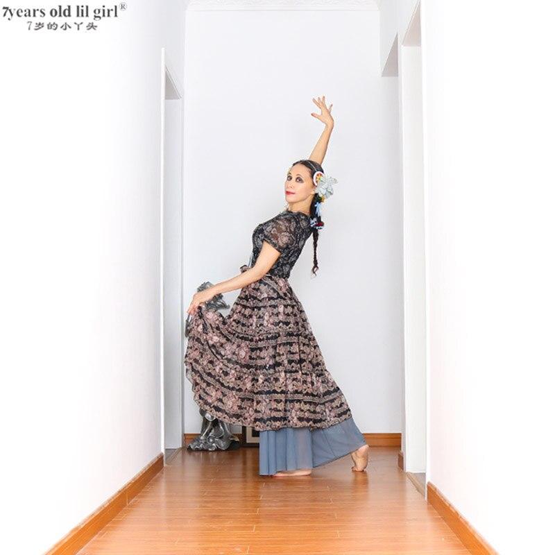 Tribal Belly Dance Skirt 16 Meters Full Circle Wide Printed Mesh Spanish Flamenco Dress Gypsy Tribal Fusion Belly Dancel Ats  FJ