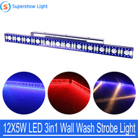 Beam Wash Strobe 3IN1 Light 12X5W LED Wall Wash Light 5/14/75 Channels DMX512 RGB LED Bar Wash Stage Light Music Dj Party Light