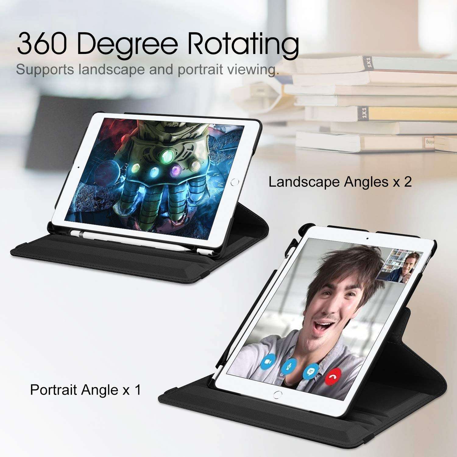 360 Degree Rotating PU Leather Flip Cover Case For iPad 10 2 2020 2019 8th 7th