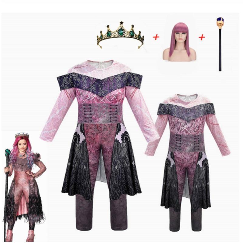 Kids Mal Descendants 3 Cosplay Costume Girls Halloween Costumes For Kids Women Disguise Party Queen Audrey Evie Fantasia Costume Aliexpress