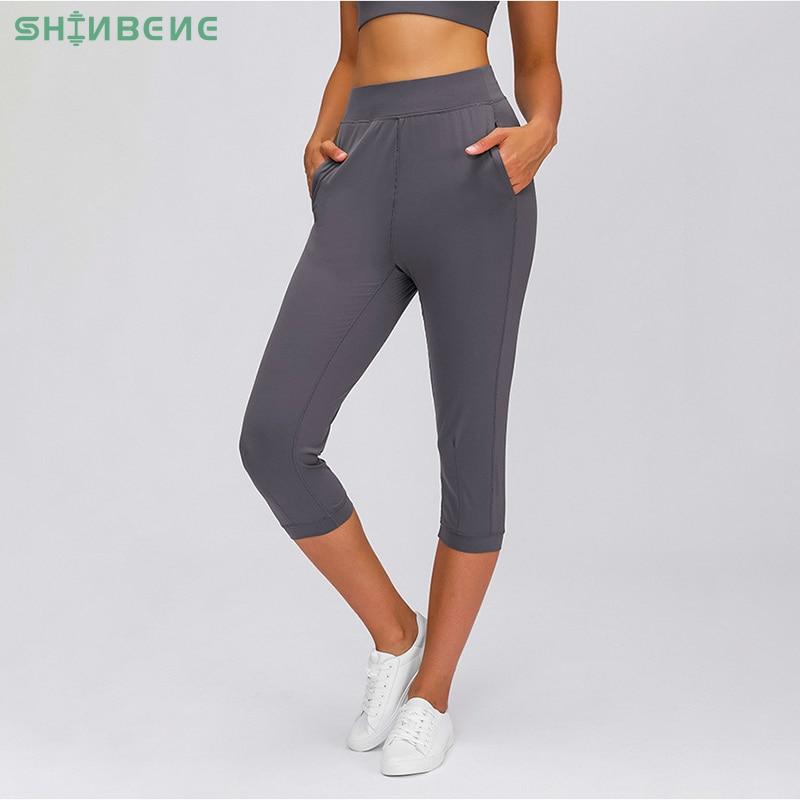 SHINBENE COZY Leisure&Home Sport Fitness Yoga Capri Joggers Women High Waist Stretchy Workout Gym Cropped Pants with Pocket