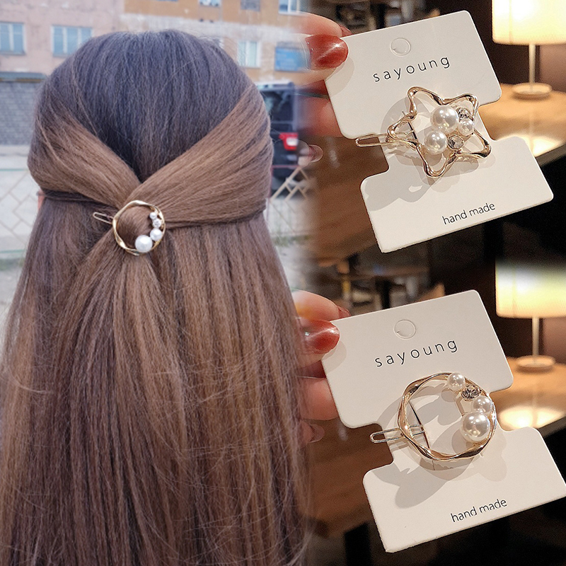 2019 Fashion Hair Clip For Women Girls Elegant Korean Design Pearl Irregular Geometry Metal Hair Clips Hairpin Hair Accessories