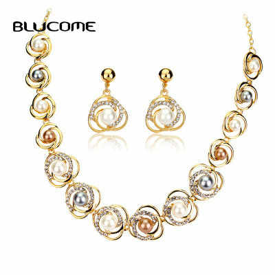 Blucome Elegant 585 Gold Multicolor Pearl Necklace Earrings Set Alloy Jewelry For Women Bride Wedding Banquet Accessories Gifts