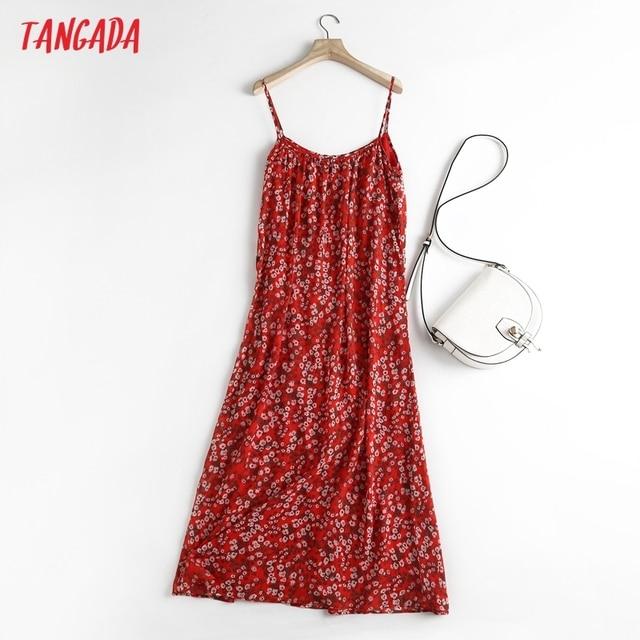Tangada Women Red Flowers Chiffon Dress Sleeveless Backless 2021 Summer Fashion Lady Dresses 6D98 6