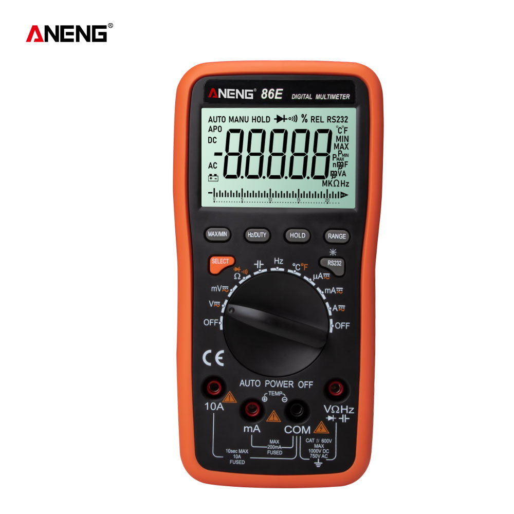 ANENG 86E 750V/1000V Digital Multimeter Current Resistance meter support Temperature and bar graph image