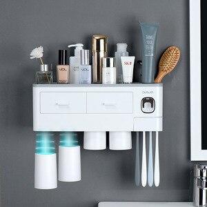 Łazienkowy uchwyt na szczoteczkę do zębów magnetyczny odwrócony pasta do zębów dozownik do montażu na ścianie organizer na kosmetyki stojak zestaw akcesoriów łazienkowych nowość