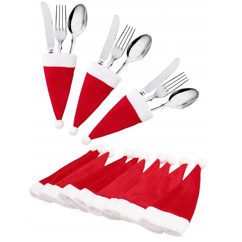 10PCS Christmas Caps Cutlery Holder Fork Spoon Pocket Xmas Christmas Decor Bag