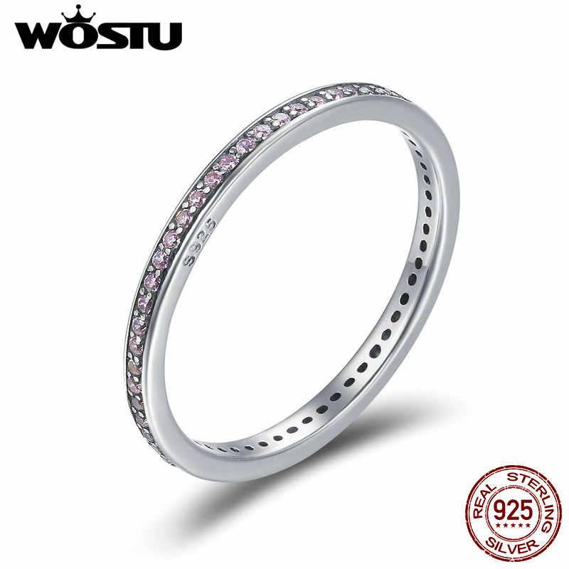 WOSTU 100% 925 เงินสเตอร์ลิงแหวนคลาสสิกพราว CZ เรขาคณิตแหวนสำหรับเครื่องประดับหมั้นผู้หญิง