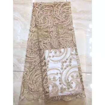 3D Paillette African Lace Fabric For Women Party Formal Dress 2019 New Sequins Embroideryed Floral French Lace Nigeria Lace