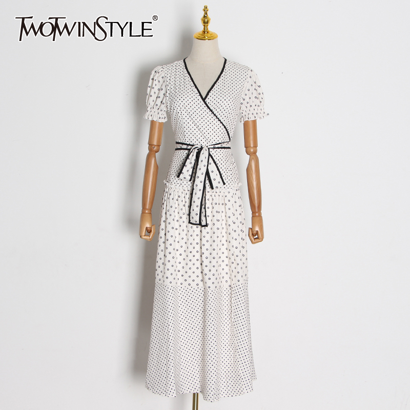 TWOTWINSTYLE Bohemian Print Hit Color Dresses Female V Neck Puff Short Sleeve High Waist Sashes Maxi Dress Women Fashion Clothes