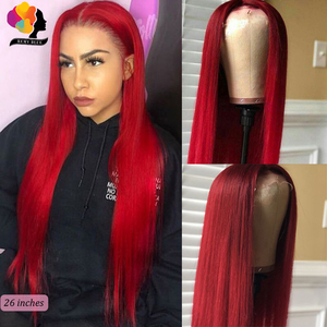 Image 2 - REMYBLUE Middle Part 13*1 99J Red Lace Front Human Hair Wigs Peruvian Human Hair Wigs for Black 180 Remy Straight Lace Front Wig