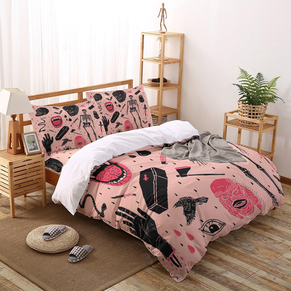 Hot Selling Whole Lotta Horror Printed Duvet Cover Set 4 Piece Bedding Set Home Textile Customizable