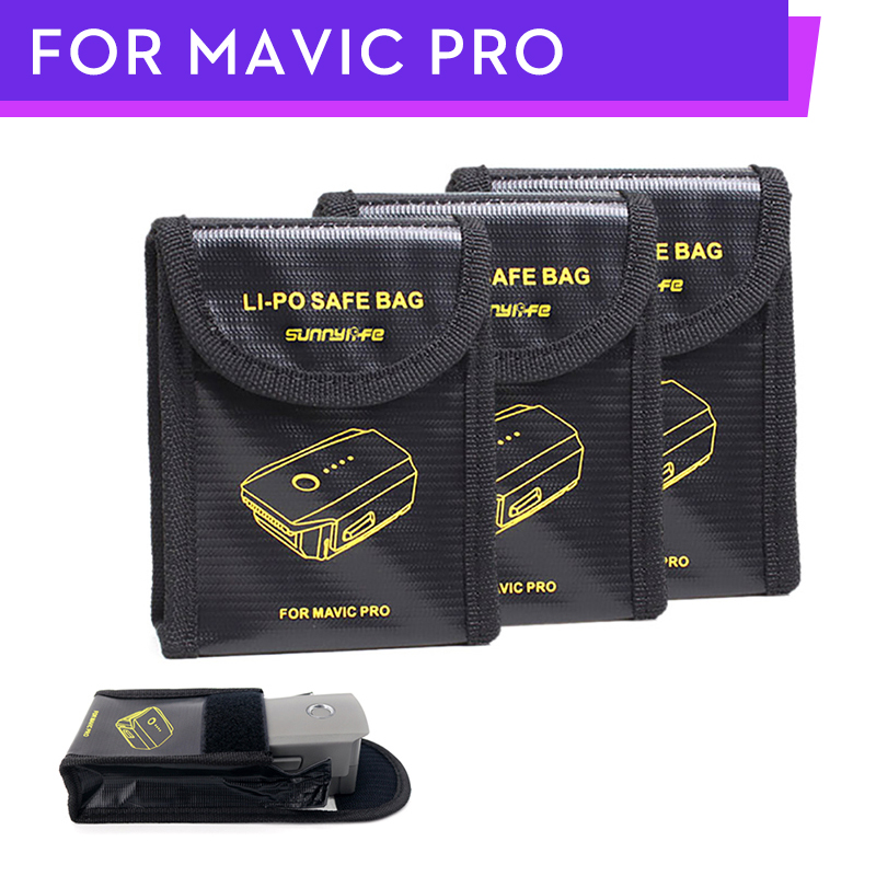 3PCS Mavic Pro Battery Bags Lipo Battery Safe Bag Fire Protection Pouch Case Cover For DJI Mavic Pro / Mavic 2 Drone