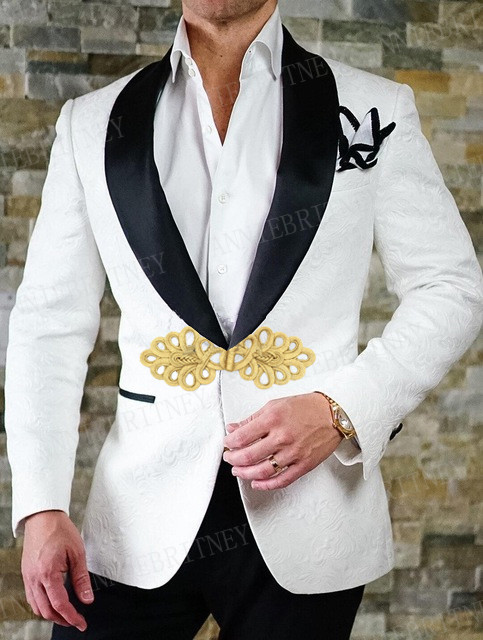 ANNIEBRITNEY Men Suit Slim Fit Tuxedo Bridegroom Suit Set Wedding Prom White Blazer With Chinese Knot Buckle Black Pants 2Pcs