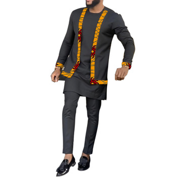 Senator style fake two pieces shirts and pants man African fashion tops+trousers custom made men's Ankara outfits black suits