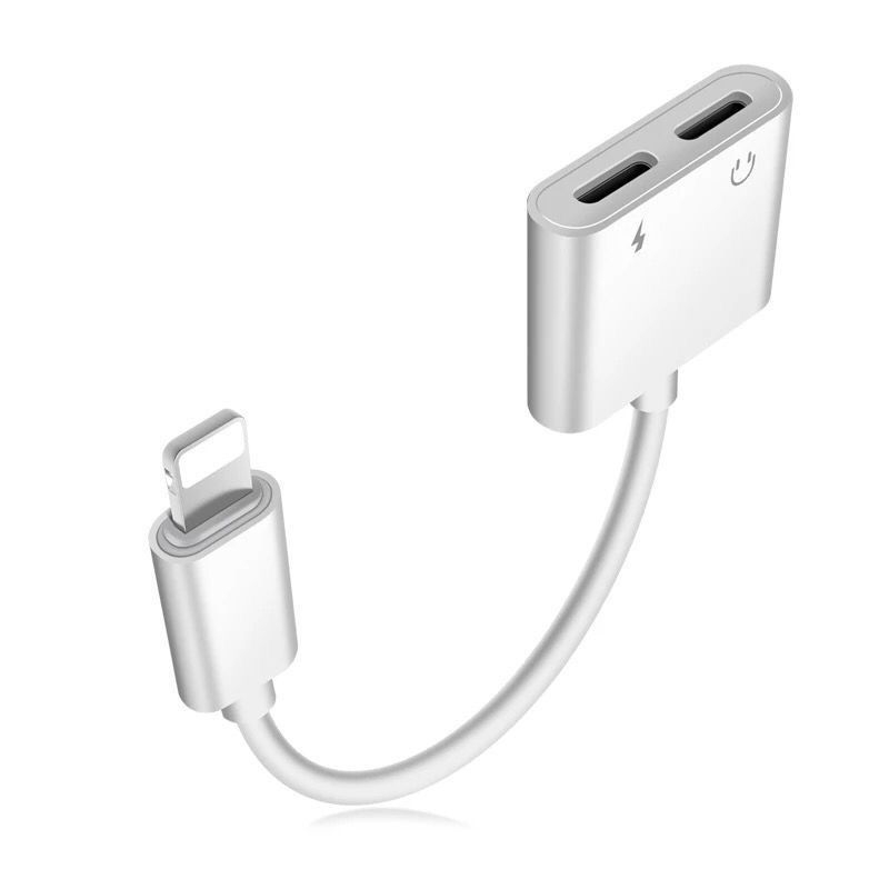 2 in 1 Audio Earphone Jack Adapter Connector for <font><b>iPhone</b></font> XR X XS 11 Pro Max <font><b>7</b></font> 8 Plus 6S Charging Cable Converter Splitter <font><b>Adaptor</b></font> image