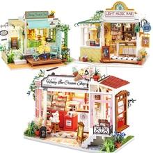 Новый деревянный кукольный домик «сделай сам», набор мебели светильник кой, Миниатюрные аксессуары, музыкальный дом, цветок, кукольный доми...