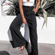 Conmoto Fall 2019 Women Fashion Black Long Pants Casual High Waist Wide Leg Trousers Female Autumn Winter Large Size Lady Pants