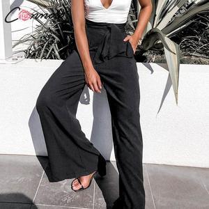 Image 1 - Conmoto Fall 2019 Women Fashion Black Long Pants Casual High Waist Wide Leg Trousers Female Autumn Winter Large Size Lady Pants