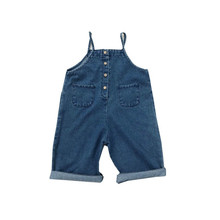 Autumn Toddler Kids Girls' Denim Overalls Long Jeans Belt Pants Comfort Broad- Legs Loose Jumpsuits One-Piece Garment 3-5 Yrs цена