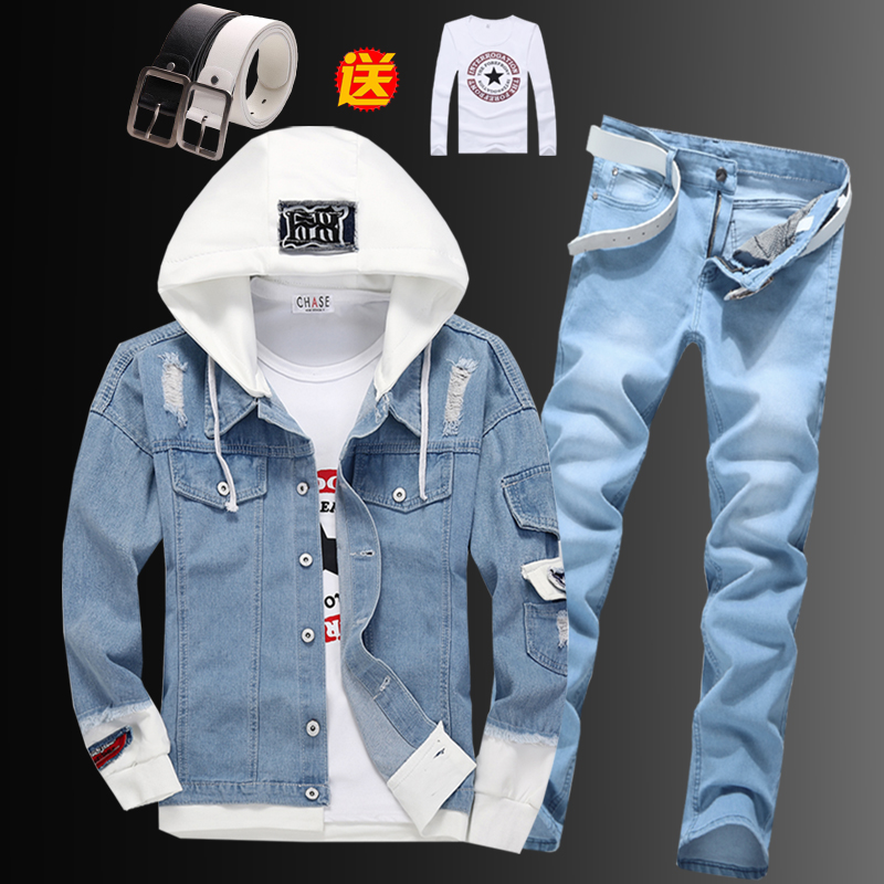 Men's Hooded Jacket Denim Coat Pencil Pants 2pcs Set Short Boys Jackets Jeans Trousers For Spring Autumn Clothing C78