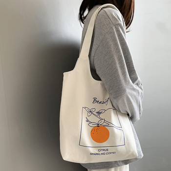 Women's Canvas Shoulder Tote Bag Large Cotton Cloth Shopping Bags for Lady Female Handbag Foldable Reusable Beach Shopper Bag