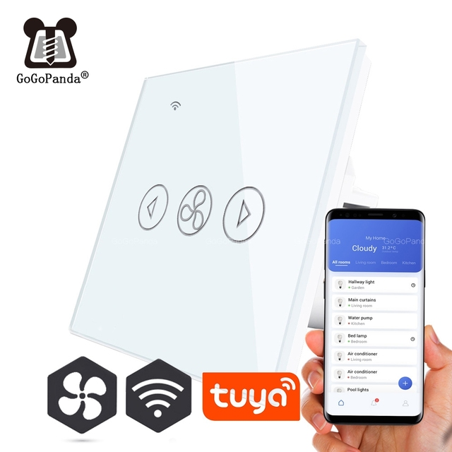 EU Standard Fan Dimmer Wifi App Control Touch Switch Smart Automation Switch 220V Smart Lifi Tuya Phone Faster Slower for Home