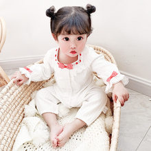 Yg brand children's clothing 2021 spring new lace round neck long sleeve baby one-piece clothes girl's open file climbing clothe