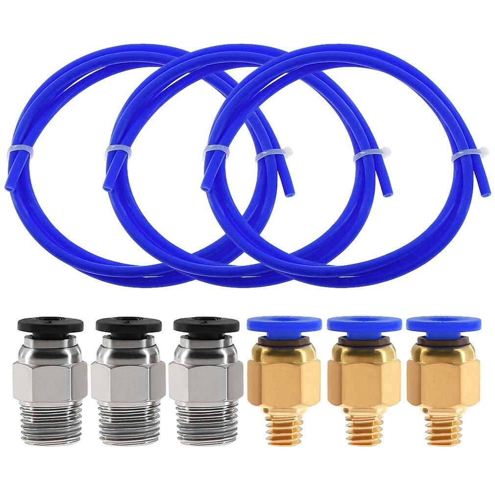 3PCS 1Meters Blue PTFE Tube + 3 PC4-M6 Pneumatic Connector + 3 PC4-M10 Connectors For 3D Printer 1.75mm Filament