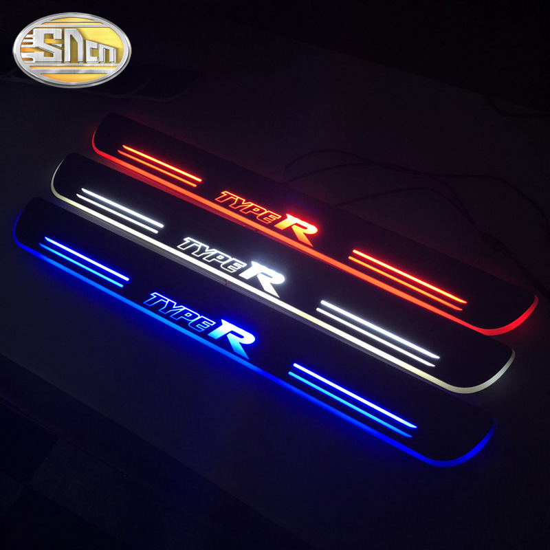 SNCN Waterproof Acrylic Moving LED Welcome Pedal Scuff Plate Pedal Door Sill Pathway Light For Honda Civic Type R 2016 - 2019