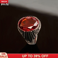New fashion red oval natural garnet men's ring Inlaid zircon S925 sterling silver ring for Man