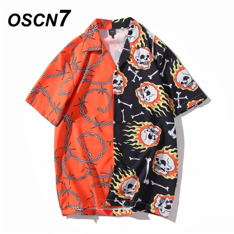 OSCN7 Casual Printed Short Sleeve Shirt Men Street 2020 Hawaii Beach Oversize Women Fashion Harujuku Shirts For Men XQ90