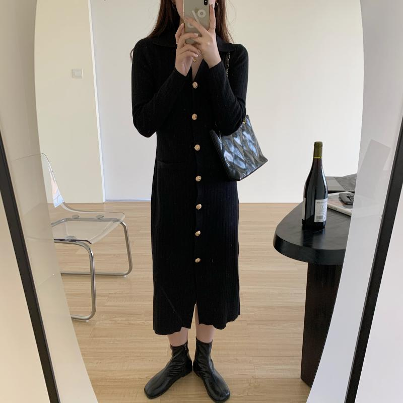 H3a85c173f52642189e68a49792c5a81e9 - Autumn Turn-Down Collar Soft Slim Solid Long Sweater Dress