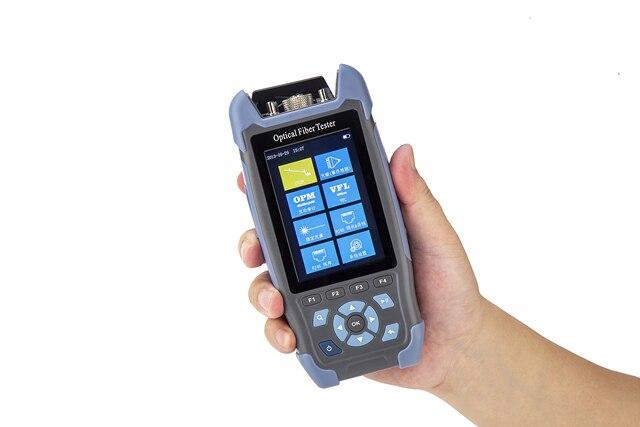 Pro mini reflektometr światłowodowy OTDR 980rev z 9 funkcjami VFL OLS OPM mapa zdarzeń 24dB dla 64km kabel światłowodowy Tester Ethernet