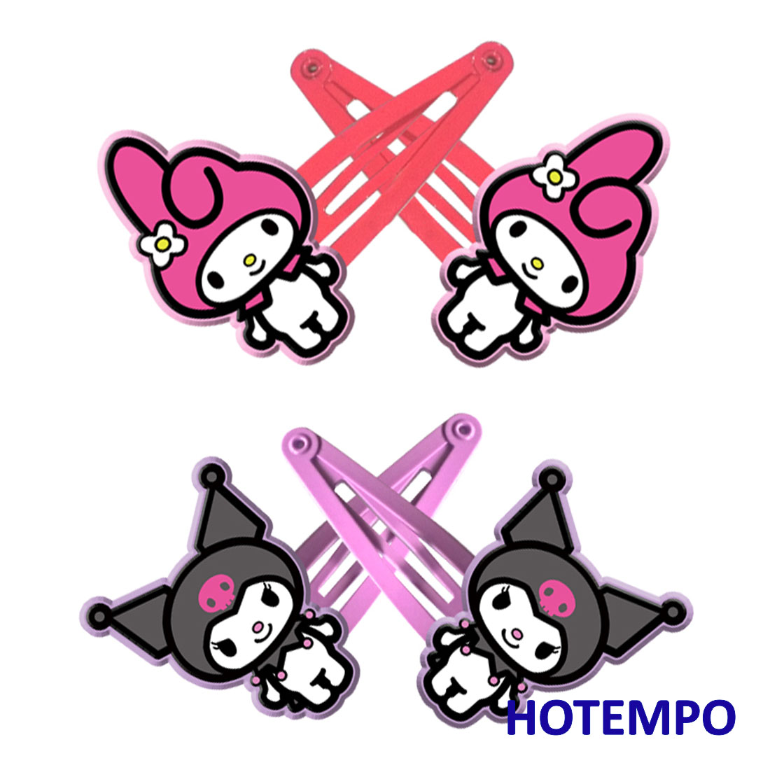 Japan Kawaii Cute Cartoon Melody Kuromi Childhood Baby Girl Hair Accessories Hairpins Elastic HairBands Hair Clip For Kids Gift