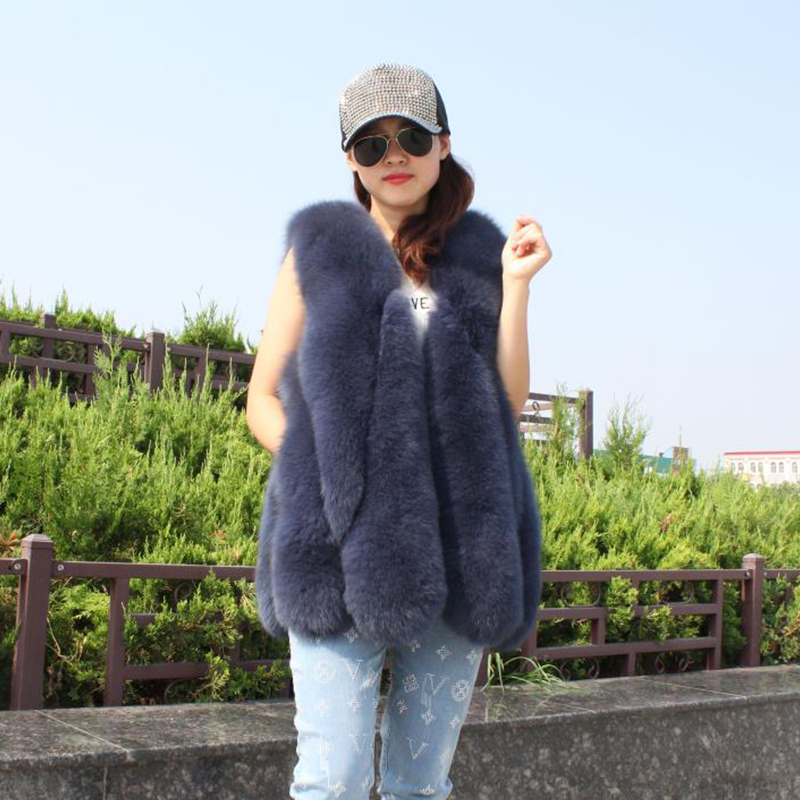 2019 New Fox Fur Vest For Women Autumn Winter Casual Elegant Solid Color Thick Warm Real Fox Fur Sleeveless Vest Female