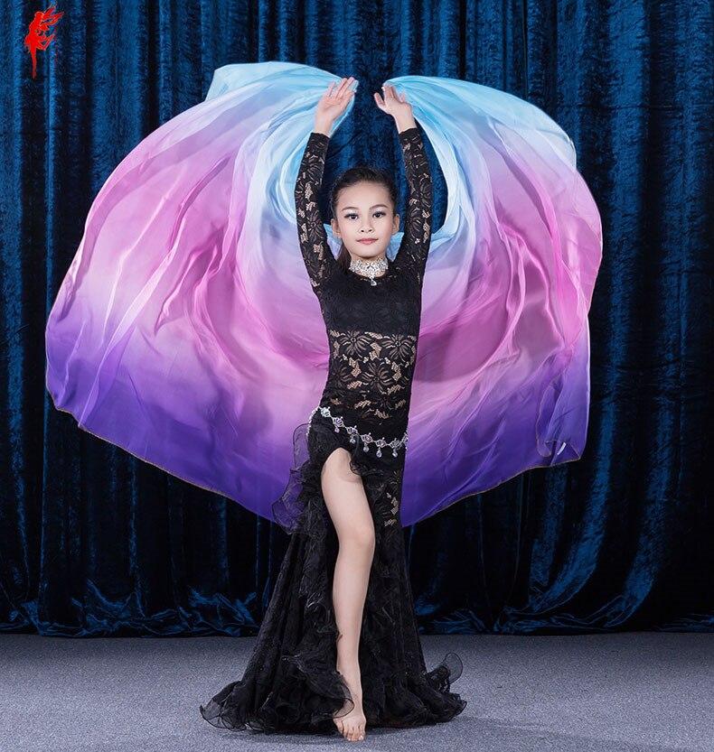 Bambini danza del ventre velo Arcobaleno velo delle ragazze 210*110 cm danza del ventre velo di seta imitazione velo delle ragazze del ventre accessori per danza