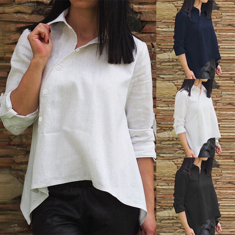 ZANZEA Office Lady Work Tunic Tops 2020 Fashion Women Cotton Solid Shirt Asymmetrical Buttons Blusas Chemiser Mujer Plus Size