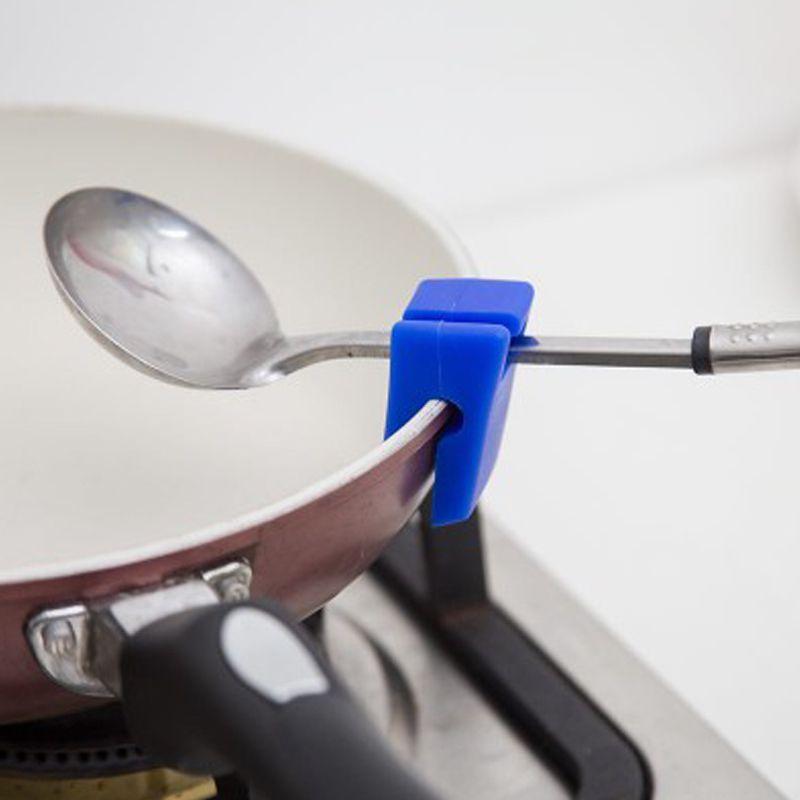 Silicone Pot couverture support de support cuisine outils de cuisson Convient Pot Pan cuillère repose et Clips supports louche cuillère étagère de rangement x